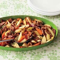 Bacon-Roasted Roots. Not a big fan of Rachael but this does look good! AND it's gluten free
