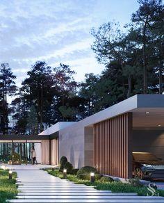 Portfolio: Residence in Razdory village 1 Modern Exterior, Exterior Design, Home Interior Design, Small House Design, Modern House Design, Architecture Building Design, Concept Home, House Blueprints, House Floor Plans