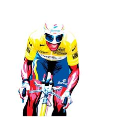 cadenced:  Gregory Gilbert Lodge illustration of Miguel Indurain in the maillot jaune.