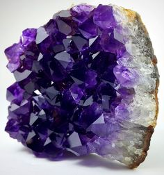 Amethyst lining part of a geode