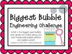 Biggest Bubble: Engineering Challenge Project ~ Great STEM- I'm only pinning this because I like the idea of it. I think the questions associated with the activity need to go deeper to get at richer thinking. Elementary Science, Science Classroom, Teaching Science, Steam Education, Gifted Education, Higher Education, Engineering Projects, Stem Projects, Science Activities
