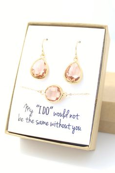 Peach Champagne Gold Teardrop Earring And Circle Bracelet Set Bridesmaid Jewelry Ebb1