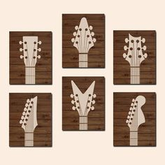 GUITAR Wall Art CANVAS or Prints Wood Effect Music by TRMdesign