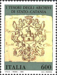 """1994 - """"Tesori dei musei e degli archivi nazionali"""": Archivio di stato di Catania - """"incipit"""" di un registro contenente gli atti notarili rogati nel 1623-24"""