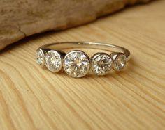 Three Stone Bezel Set Diamond Ring Estate by EstateDiamondJewelry