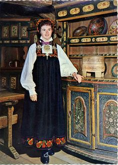 FolkCostume&Embroidery: Bunad and Rosemaling embroidery of upper Hallingdal, Buskerud, Norway Norwegian Rosemaling, Scandinavian Folk Art, Art Populaire, Apron Dress, Folk Costume, People Of The World, World Cultures, Traditional Dresses, Vintage Outfits