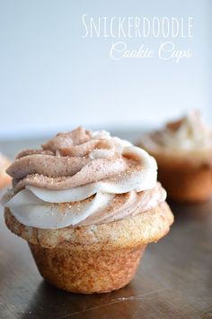 Soft and fluffy Snickerdoodle Cookie cups filled with sweet cinnamon and vanilla swirled frosting.