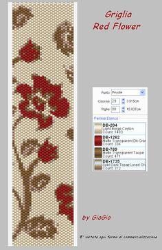 GioGio & Co: Grids / peyote pattern Peyote Stitch Patterns, Seed Bead Patterns, Weaving Patterns, Jewelry Patterns, Bracelet Patterns, Peyote Bracelet, Peyote Beading, Beaded Bracelets, Seed Beads