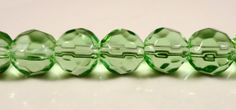 Green Faceted Glass Beads 8mm Round Peridot by BusyBeeBeadSupplies, $2.85