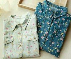 Denim floral shirts