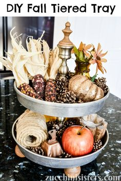 Create festive Fall tiered tray home decor with vintage items and natural elements. Complete tutorial with supply list and photos. fall tiered tray decor | fall tiered tray decor ideas | diy fall tiered tray decor | two tiered tray fall decor | tiered tray fall decorating ideas 2020 | 2 tiered tray fall decor | fall tiered tray | fall tiered tray ideas | vintage fall decor | natural fall decor | diy fall decor | fall themed tiered trays | decorated tiered trays fall #zucchinisisters Natural Fall Decor, Vintage Fall Decor, Decorating Blogs, Fall Decorating, Tray Styling, Upcycled Home Decor, Autumn Crafts, Fall Table, Fall Diy