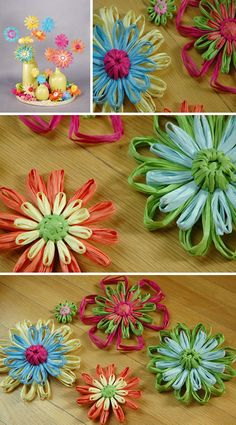 Raffia Flowers- for mother's day!