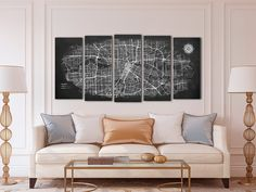 HOUSTON Canvas Map Panoramic Wall Art Chalkboard City Map | Etsy