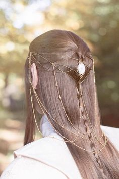 elvish headdress ♥ in 2020 Elven Hairstyles, Pretty Hairstyles, Fairy Hairstyles, Elven Princess, Elf Cosplay, Hair Reference, Fantasy Jewelry, Tiaras And Crowns, Hair Jewelry