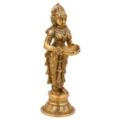 CraftVatika Indian Lady Holding Lamp Diya Brass Pooja Candle Holder Religious Oil Lamp Diya Home Decor Gifts * Check out this great product. (This is an affiliate link and I receive a commission for the sales) Brass Lamp, Sculpture, Statue, Handmade Home Decor, Oil Lamps, Decoration, Lady, Candle Holders, Candles