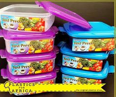 Keep your favourite snacks or lunch fresh and delicious with these Just Press containers! Get yours from your nearest #PlasticsForAfrica branch. #LunchBoxes #Containers