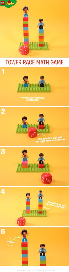 This simple math game is a great fun way to help kids learn to count. You'll need some LEGO DUPLO bricks, two characters, a small baseboard, and a large die. Each player chooses a character then rolls the die. Count out the corresponding number of bricks together and add them to your child's tower. Whoever gets to ten first is the winner, or make it a larger number to challenge older children – can you get to 100? #mathforkids