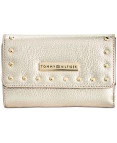 Tommy Hilfiger Studded Pebble Leather Medium Flap Wallet - Gold