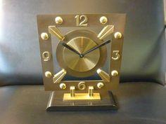ART DECO CLOCK / BAYARD 8 DAY  BAUHAUS TABLE / SHELF CLOCK  (BRONZE & BRASS) #BAYARD