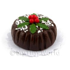 miniature christmas cakes | Cakes and Slices - Dolls House Miniature Chocolate Christmas Cake ...