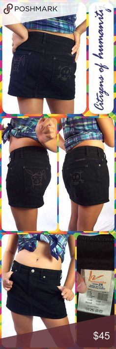 """Cute Black Skull & Bunny Denim Jean Mini Skirt Black denim mini skirt from Citizens of Humanity with embroidered back pockets. Classic 5-pocket styling with a pink bunny and yellow skull & crossbones on the back. Size 26. Measures 30"""" around the waist and 12.5"""" in length. Looks Like New! Citizens of Humanity Skirts Mini"""