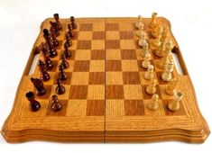 Chess Set, Wood Storage Chess Board and Mahjong Board Inside, Carved Pieces, Inl #unknown