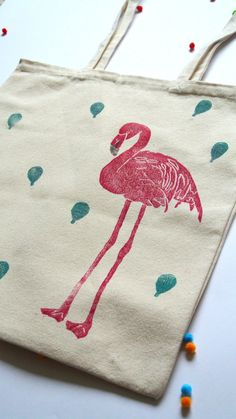 Tote Bag Party Flamingo by BeciMay on Etsy, £10.00