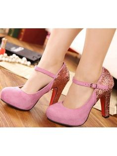 Mary Jane Sequin Decoration Pink High Heels