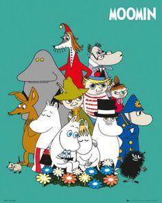 Posters: Moomin Mini Poster - Characters x 16 inches) Poster Shop, Poster Prints, Art Prints, Mini Poster, Les Moomins, Framing Canvas Art, Moomin Valley, Tove Jansson, Marvel Comics