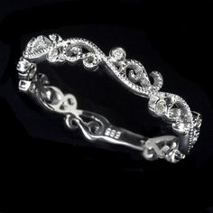 custom made filigree diamond wedding band art deco - Female Wedding Rings