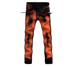 Slim Fit Straight Painted Punk Jeans via JQ online store. Click on the image to see more!