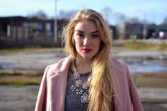A close-up of #RosieGlow wearing #Accessoryo #pastel #pink gem #necklace! Styled with #FashionUnion #coat, #LilyLulu #PVC #skirt, #Primark #tshirt and #Zara #heels! #fbloggers