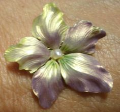 VICTORIAN 14K GOLD ORCHID PANSY BROOCH PIN ENAMEL SEED PEARLS RARE ESTATE PIECE