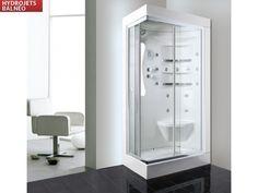 Douche Balnéo STELA avec jets de massage, radio et rangements - Angle droit prix promo Vente Unique 499,99 € TTC au lieu de 899.00 €