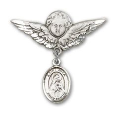 ReligiousObsessions Sterling Silver Baby Badge with St Rita of Cascia Charm and Angel with Wings Badge Pin *** You can find more details by visiting the image link.(This is an Amazon affiliate link and I receive a commission for the sales)