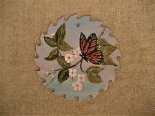 VINTAGE HAND PAINTED SAW BLADE ART MONARCH BUTTERFLY FLOWERS SIGNED ZEISE