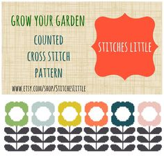 Retro Modern Cross Stitch Pattern - Scandi Cross Stitch - Ondori Cross Stitch - Grow Your Garden - PDF Pattern - Instant Download by StitchesLittle on Etsy https://www.etsy.com/listing/182265188/retro-modern-cross-stitch-pattern-scandi