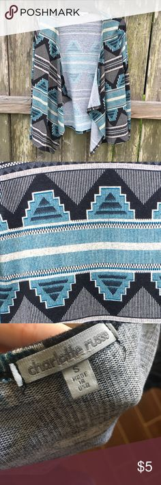 ✨ Charlotte Russe Aztec Lightweight Sweater ✨ 💛Size: S 💛 Flowy cardigan -- blue/green color 💛 No buttons or clasp to hold the front together (it wasn't made that way) 💛 Worn only a handful of times. I let a friend borrow it and she dried it on the hottest setting (that's why the inside tag is almost unreadable) 😭  💛 Perfect for date night or chilling around   town 💛This goes great with a basic white T, Jeans, & heels or ankle booties 😍 💛 Smoke free home -- but has animals  💲5…