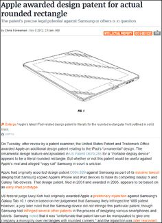 """The patented design of the """"rounded rectangle"""" Apple is"""