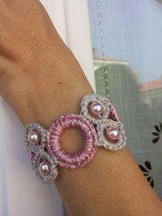 Braccialetto in lurex rosa e argento