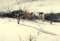 """Andrew Wyeth-""""My Father's Studio"""" watercolor 1940"""
