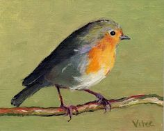 Birds painting by Vitec: I cannot stop painting Robins, help!