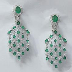 10.80 CT Emerald and Diamond Chandelier Earrings in 18K White Gold -ID | idjewelry