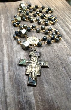 Rosary Necklace Pyrite Gemstone Rosary Necklace by DeerGirlDesigns