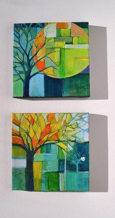 November supermoon paintings, Abstract tree art by Garima Parakh Art