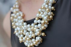 """Stella and Dot inspired """"Sofia""""  pearl statement necklace, Bib Necklace, Pearl Statement Necklace"""