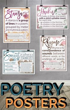 18 beautiful classroom posters (8.5 x 11) to brighten up your classroom and reinforce poetry terminology.
