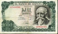 old Spanish Peseta banknotes Spain