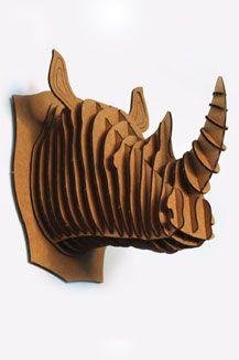 Cardboard Rhino Taxidermy