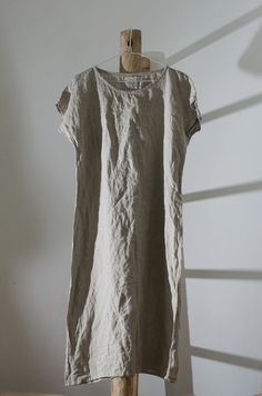 Linen Tunic Dress / Smock / short sleeves   Each item is individually cut and sewn by order, especially for you. Handmade, quality items take